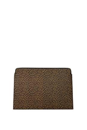 Celine Clutches Women Leather Brown Leopard