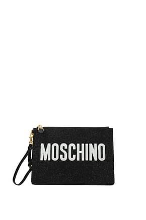 Moschino Clutches Women Glitter Black White