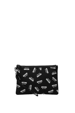 Moschino Clutches Women Fabric  Black White