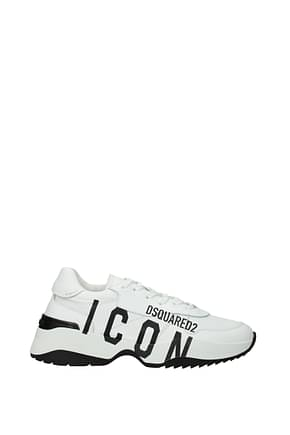 Dsquared2 Sneakers icon Homme Cuir Blanc Noir