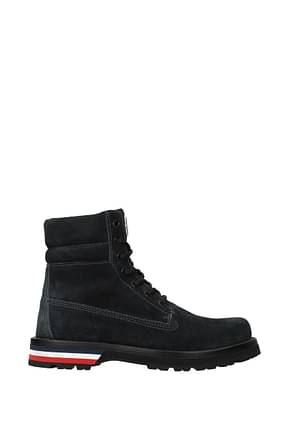 Moncler Ankle Boot Men Suede Blue Royal Blue