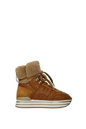 Hogan Ankle boots midi platform Women Leather Brown Tan