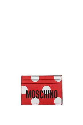 Moschino Document holders Women Leather Red Hibiscus