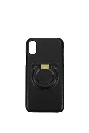 Salvatore Ferragamo iPhone cover iphone x Women Leather Black