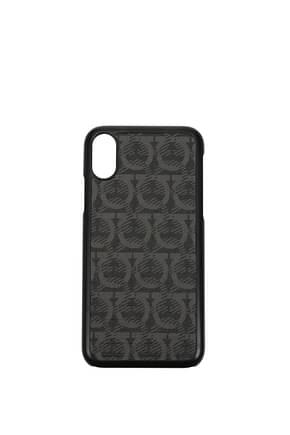 Salvatore Ferragamo iPhone cover iphone x Men Fabric  Black Grey