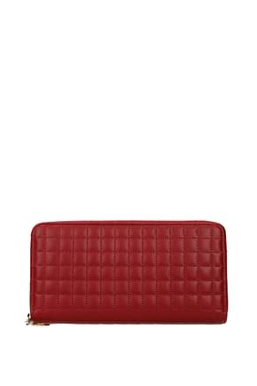 Celine Wallets Women Leather Red Crimson