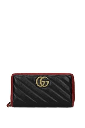 Gucci Wallets Women Leather Black Red