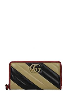 Gucci Wallets Women Leather Beige Black