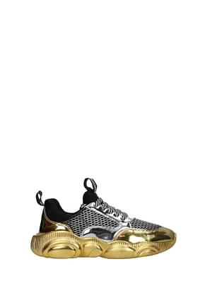 Moschino Sneakers Women Fabric  Silver Gold