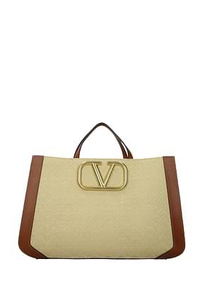 Valentino Garavani Handbags Women Raffia Beige Leather