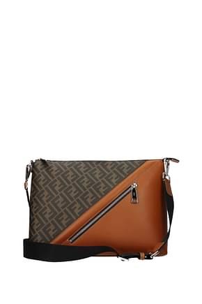 Fendi Crossbody Bag Men Fabric  Brown Leather