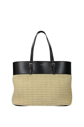 Saint Laurent Shoulder bags Women Raffia Beige Black