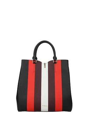 Furla Handbags ribbon Women Leather Black Multicolor
