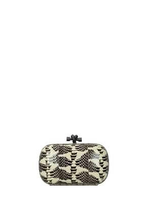 Bottega Veneta Clutches Women Leather Snake Beige Black