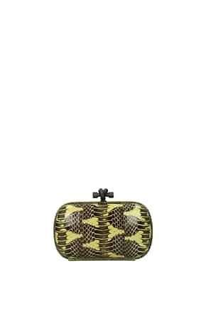 Bottega Veneta Clutches Women Leather Snake Yellow Black