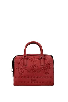 Pollini Handbags Women Leather Red Brick Red