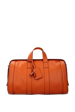 Bottega Veneta Travel Bags Men Leather Orange