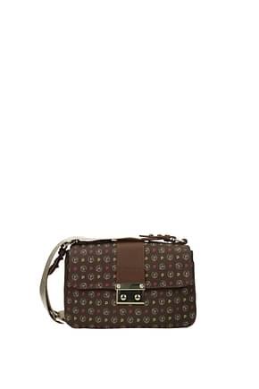 Pollini Crossbody Bag Women PVC Brown Fuchsia