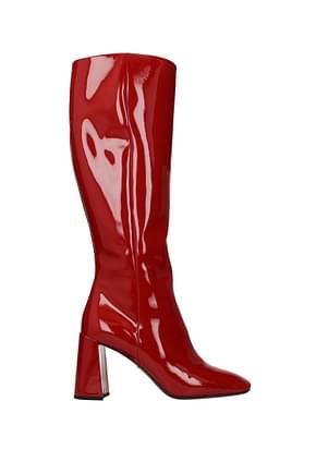 Prada Stiefel Damen Lackleder Rot