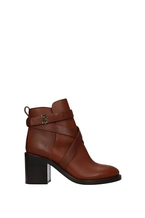 Burberry Ankle boots Women Leather Brown Tan