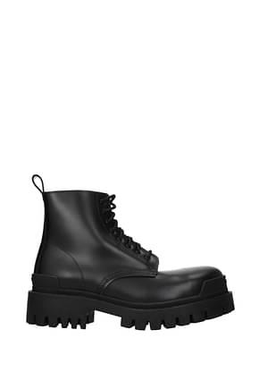 Balenciaga Ankle Boot Men Leather Black