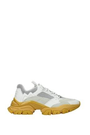Moncler Sneakers Uomo Tessuto Bianco Senape