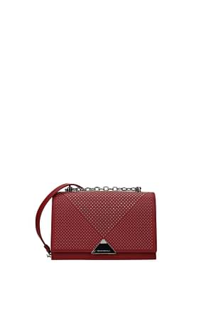 Armani Emporio Crossbody Bag Women Leather Pink Bordeaux