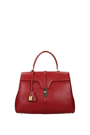 Celine Handbags Women Leather Red Red