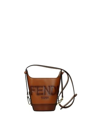 Fendi Shoulder bags bouquet Women Leather Brown Leather