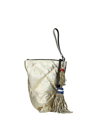 Moncler Clutches twisted Women Leather Gold