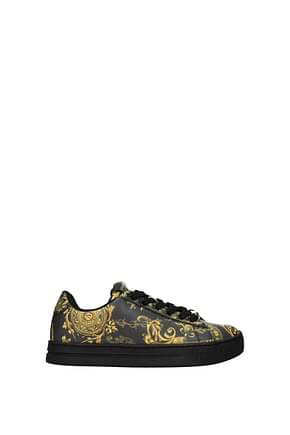 Versace Jeans Sneakers couture Women Leather Black Gold