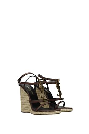 Saint Laurent Wedges cassandra Women Leather Brown Dark Brown