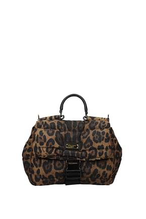 Dolce&Gabbana Handbags Men Fabric  Brown Leopard