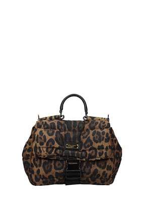 Dolce&Gabbana Borse a Mano Uomo Tessuto Marrone Leopardato