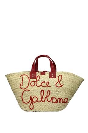 Dolce&Gabbana Borse a Mano kendra Donna Paglia Beige Rosso Scuro
