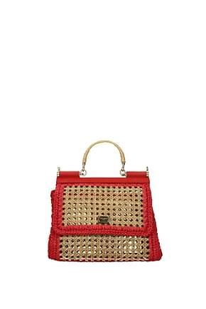 Dolce&Gabbana Handtaschen sicily Damen Stroh Beige Rot