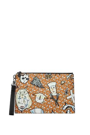 Burberry Clutches Men Fabric  Orange