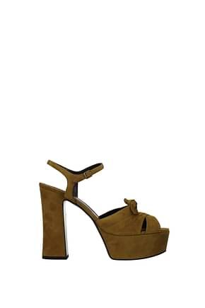 Saint Laurent Sandals Women Suede Brown