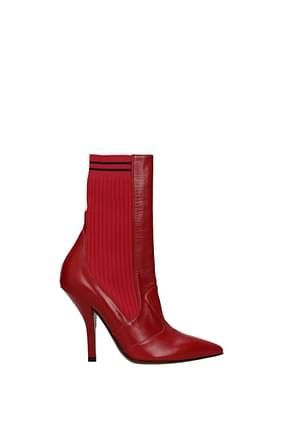 Fendi Ankle boots Women Leather Red