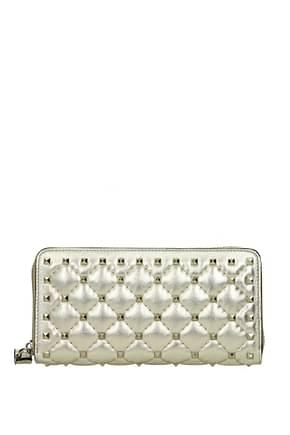 Valentino Garavani Wallets Women Leather Gold Platinum