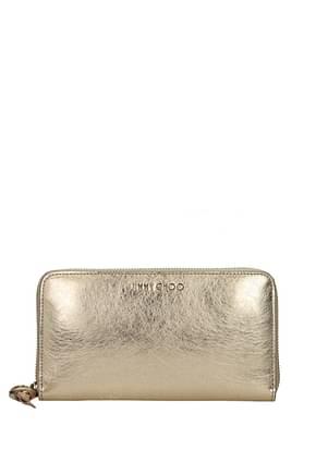 Jimmy Choo Wallets Women Leather Gold