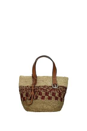 Jw Anderson Handbags Women Raffia Beige Bordeaux