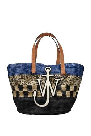 Jw Anderson Shoulder bags Women Raffia Black Royal Blue