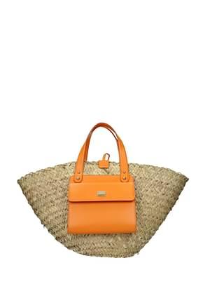 Dolce&Gabbana Borse a Mano kendra Donna Paglia Beige Arancione