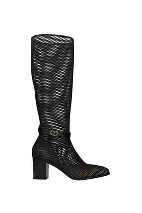 Christian Dior Boots Women Fabric  Black