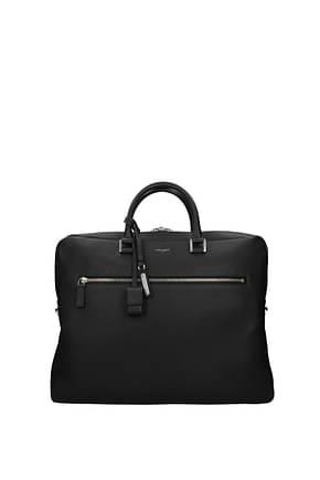 Saint Laurent Work bags Men Leather Black