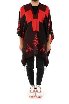 Marcelo Burlon Scarves poncho Men Cotton Black Red