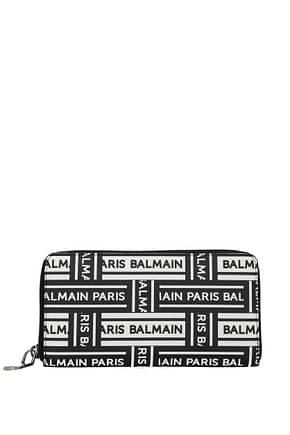 Balmain Brieftasche Damen Leder Schwarz Weiß