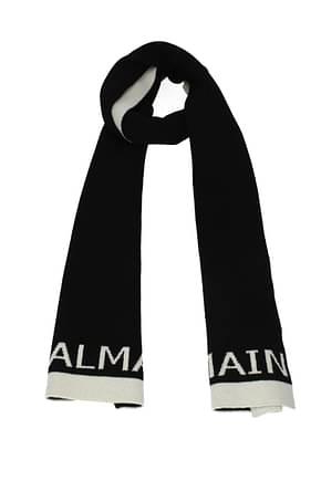 Balmain Scarves Men Wool Black Beige
