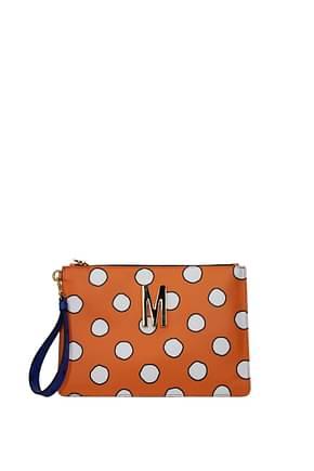 Moschino Clutches Women Leather Orange